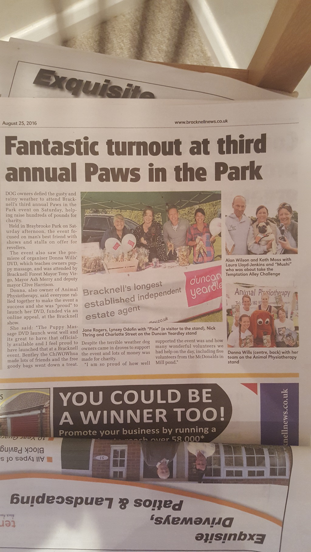 Paws in the Park in the Paper